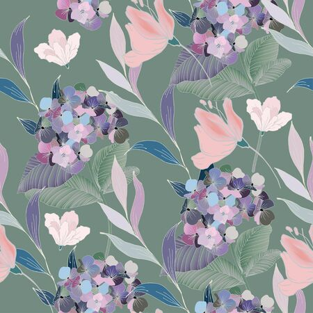Abstract drawing of lilac flowers and leaves on a sage grey color background. Seamless vector floral pattern. Simple square repeating design for fabric and wallpaper. Illustration