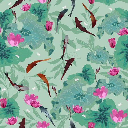 Pink flowers and green leaves of lotuses, koi carps in light sage green color water. Seamless hand-drawn vector illustration with a pond. Square repeating design for fabric and wallpaper. Illustration