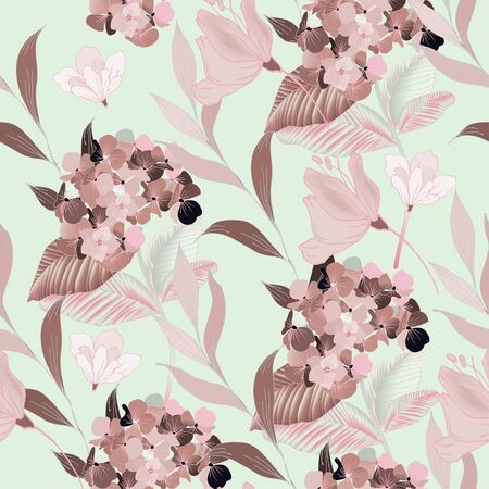 Abstract drawing of pink flowers and leaves on a light cream sage green color background. Seamless vector floral pattern. Simple square repeating design for fabric and wallpaper. Illustration