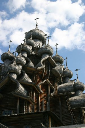 onega: The museum of wooden architecture is located on the Kizhi island on Lake Onega in the Republic of Karelia, Russia. The jewel of the collection is the 22-domed Transfiguration Church (1714).