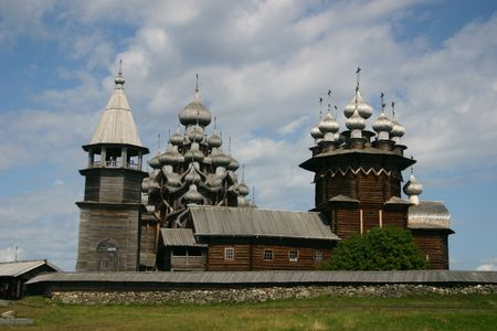 onega: The museum of wooden architecture is located on the Kizhi island on Lake Onega in the Republic of Karelia, Russia. The Kizhi Pogost is the area inside the perimeter wall or fence and includes 2 large churches and a bell-tower.