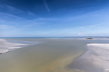 english channel: View from the Mont Saint-Michel, France to the English Channel