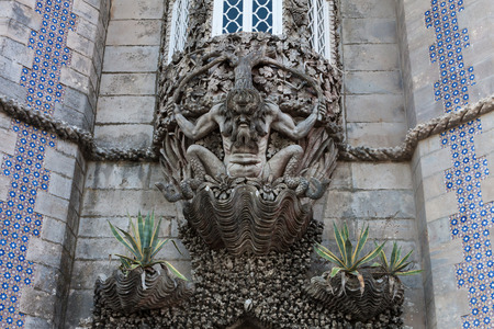 allegory: The depiction of a newt, symbolizing the allegory of creation of the world. Pena National Palace, Sintra, Portugal.