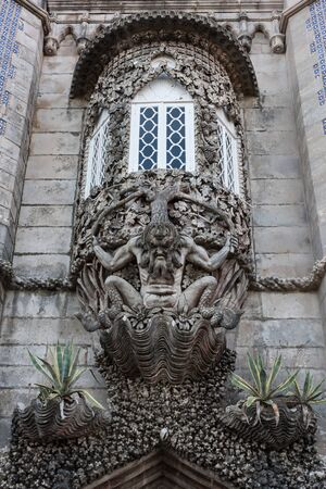depiction: The depiction of a newt, symbolizing the allegory of creation of the world. Pena National Palace, Sintra, Portugal.