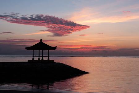 sanur: Pink sunrise on Sanur beach, Bali Stock Photo