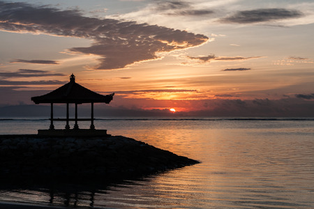 sanur: Gold sunrise on Sanur beach, Bali