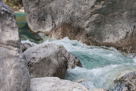 rockclimbing: Rapid flow of Verdon river, Provence, France