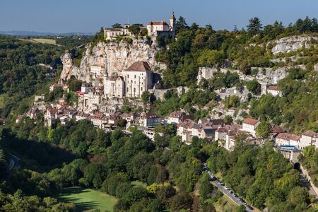 pilgrimage: Picturesque view to french village Rocamadour, place of catholic pilgrimage. Stock Photo