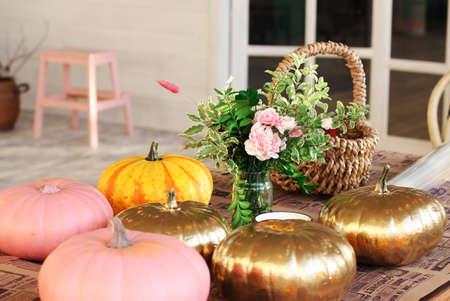 Colored pumpkins in the creative studio Stock Photo
