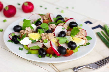 Nicoise salad with tuna, egg, cherry tomatoes and black olives. French cuisine Stock Photo