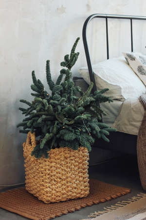 Christmas tree in a wicker basket by the bed. Minimalistic Scandinavian decor Stock Photo