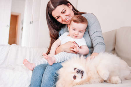 Young mother brunette woman with baby boy in arms play with dog Pomeranian Spitz at home