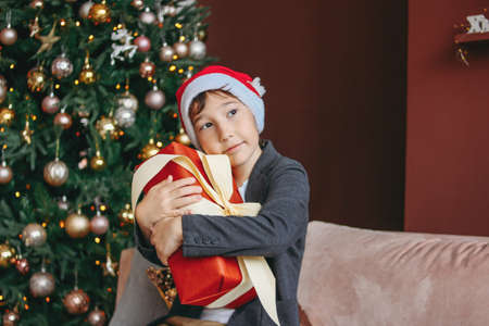 Attractive funny tween boy with dark hair in santa hat hugs gift box on the christmas tree background Zdjęcie Seryjne