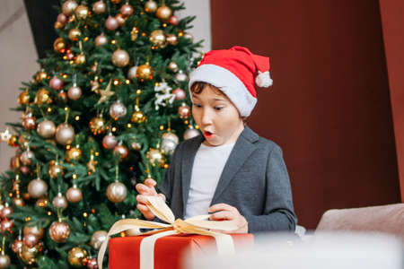 Attractive funny tween boy with dark hair in santa hat open gift box on the christmas tree background Zdjęcie Seryjne