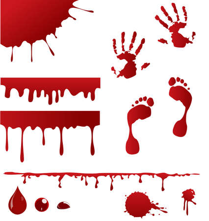 bloody hand print: Conjunto de salpicaduras de sangre y cuatro que vierten sangre dise�os del marco de las p�ginas de decoraci�n