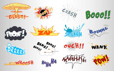 Set of comic sound effects designs