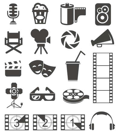 3 d glasses: Set of media and film web icons
