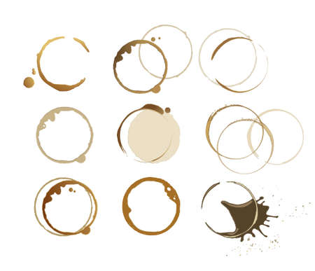 coffee stain: 9 different coffee stains ,can be used to decorate your work