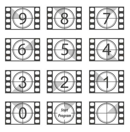 35 mm: Old film strip countdown from 9 to 0 Illustration