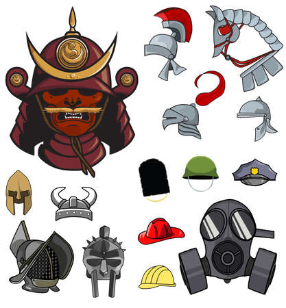 15 medieval and modern helmet designs from around the world Stock Vector - 22144689