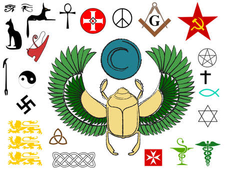 scarab: religious signs and symbols of power