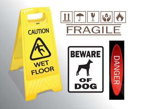 slippery sign: caution sign set  Illustration