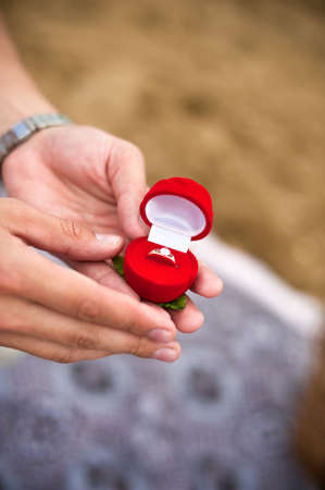 will you marry me: Engagement ring in hand, will you marry me Stock Photo