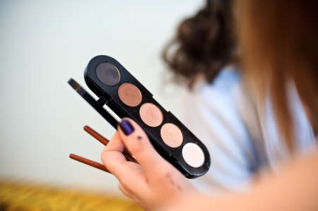 Reticulation with shadows and blush, make-up set Stock Photo