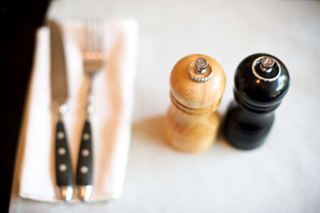weddingrings: Wedding rings on the salt and pepper shakers Stock Photo