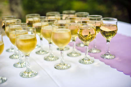 Glasses with champagne for the guests at the wedding Stock Photo
