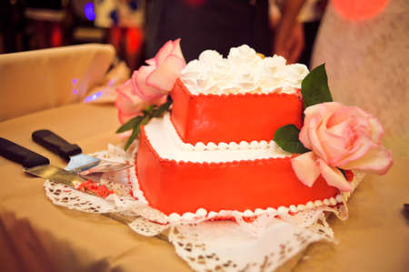 Red Wedding Cake Decorated With White Patterns Stock Photo, Picture ...