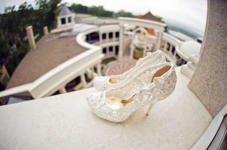 Wedding Shoes Cream Color On The Windowsill Photo