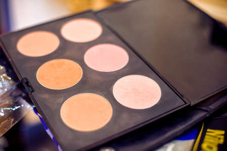 blush: Reticulation with shadows and blush, make-up set Stock Photo