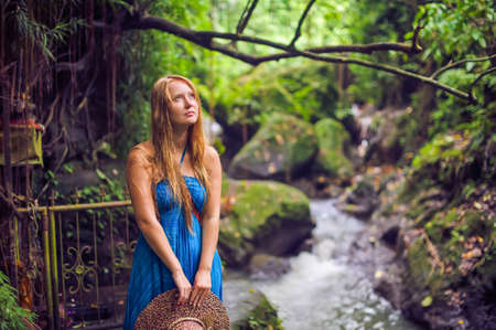 Woman in tropical jungles of Bali, Indonesia