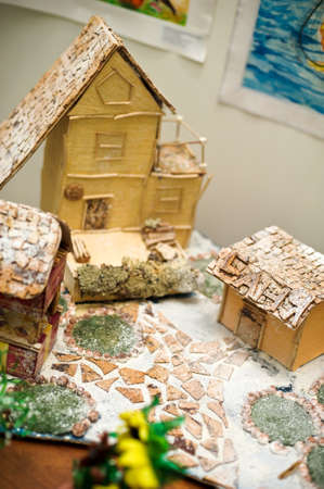 Christmas decorations: a house in the snow