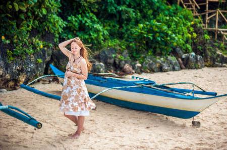 Girl and a Philippine boat, Borakay island