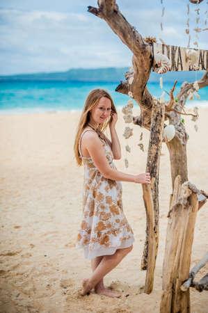 Girl on the beach puka , Boracay , Philippines