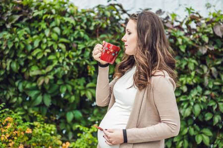 A pregnant young woman standing at the hedge and drinking from a cup. pregnant woman relaxing in the park. Lovely prospective mother