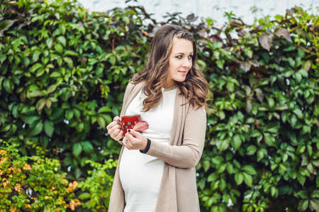 lovely pregnant woman: A pregnant young woman standing at the hedge and drinking from a cup. pregnant woman relaxing in the park. Lovely prospective mother