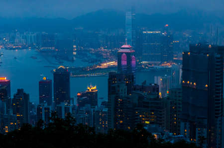Hong Kong view from top of victoria park, travel concept