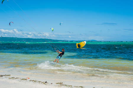 kiteboarding: Kite surfers on the island of Boracay