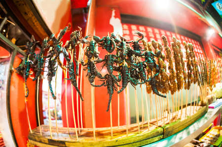 The Chinese market, fried scorpions on stick, exotic food concept Stock Photo