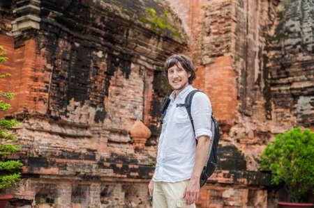 Man tourist in Ventname. Po Nagar Cham Tovers. Asia Travel concept. Journey through Vietnam Concept.