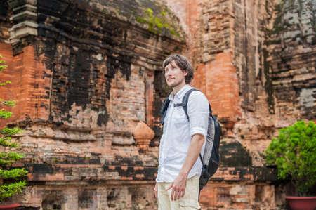 linga: Man tourist in Ventname. Po Nagar Cham Tovers. Asia Travel concept. Journey through Vietnam Concept.