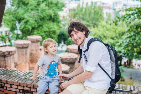 Father and Toddler Son tourists in Ventname. Po Nagar Cham Tovers. Asia Travel concept. Journey through Vietnam Concept. Stock Photo