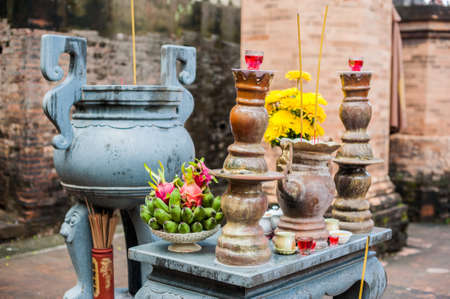 Altar for prayer at a Buddhist temple of Po Nagar Cham Towers. Asia Travel concept. Journey through Vietnam Concept. Stock Photo