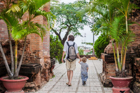 Father and Toddler Son tourists in Vietnam. Po Nagar Cham Tovers. Asia Travel concept. Journey through Vietnam Concept.