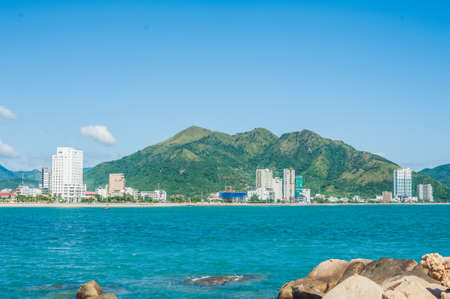 hon: View of the Nha Trang and the hills from Hon Chong cape, Garden stone, popular tourist destinations at Nha Trang. Vietnam. Asia Travel concept. Journey through Vietnam Concept.