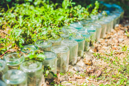 managing waste: A fence made of glass jars. Waste recycling concept Stock Photo