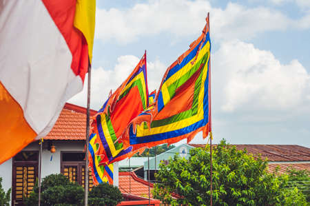 te: Traditional Festival flags of Vietnam Five Elements Flag. Nha Trang